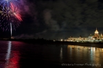 Hotel Del Coronado with fireworks reflections