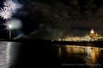Hotel Del Coronado with white fireworks
